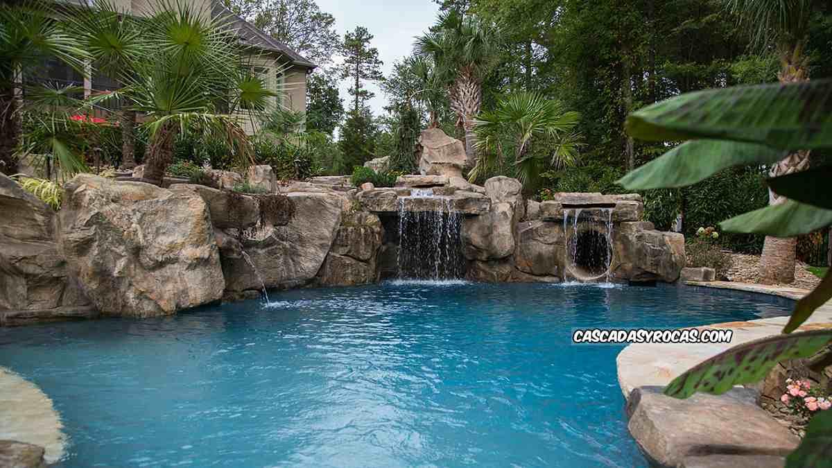 Dise o piscinas tematizadas con roca artificial - Fuentes de cascada ...