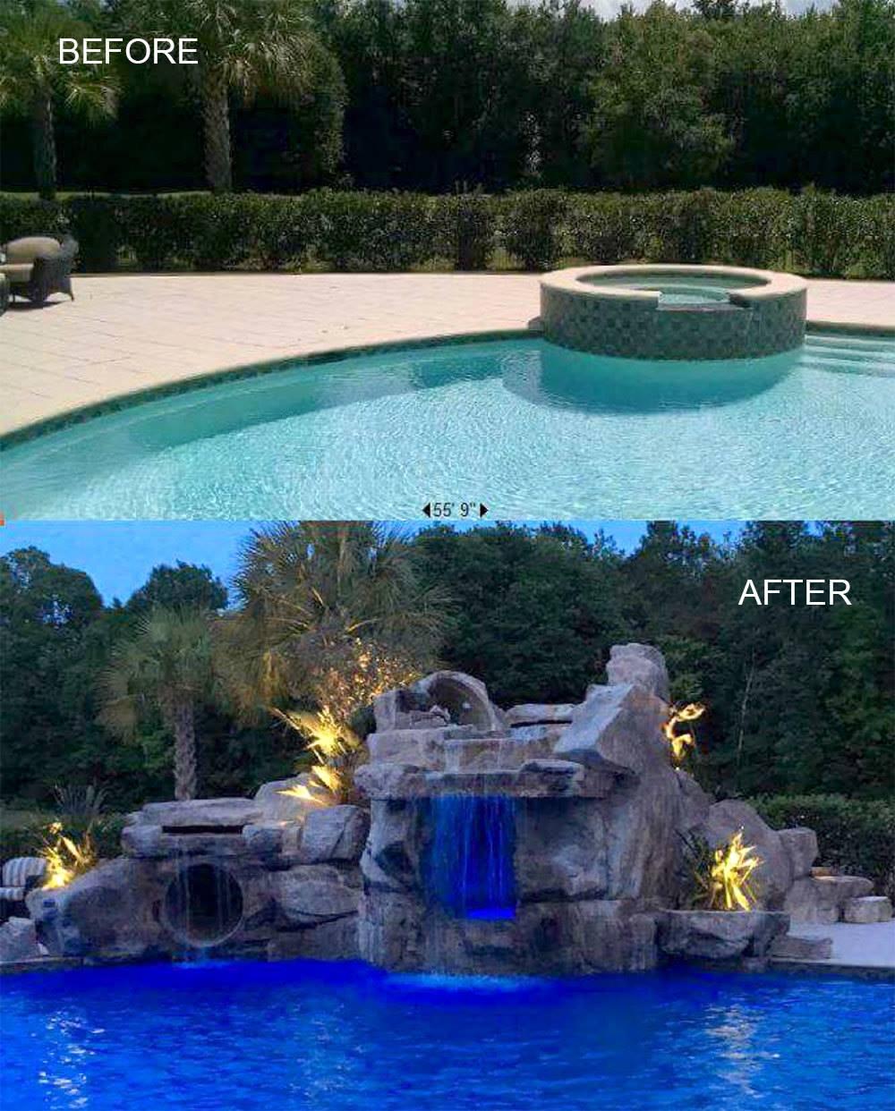 imágenes de piscinas con cascadas artificiales