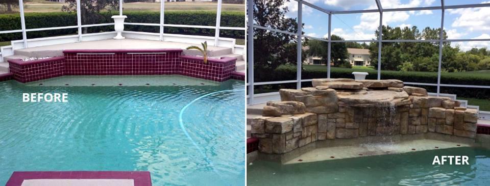 antes y después de piscina reformada con cascada artificial